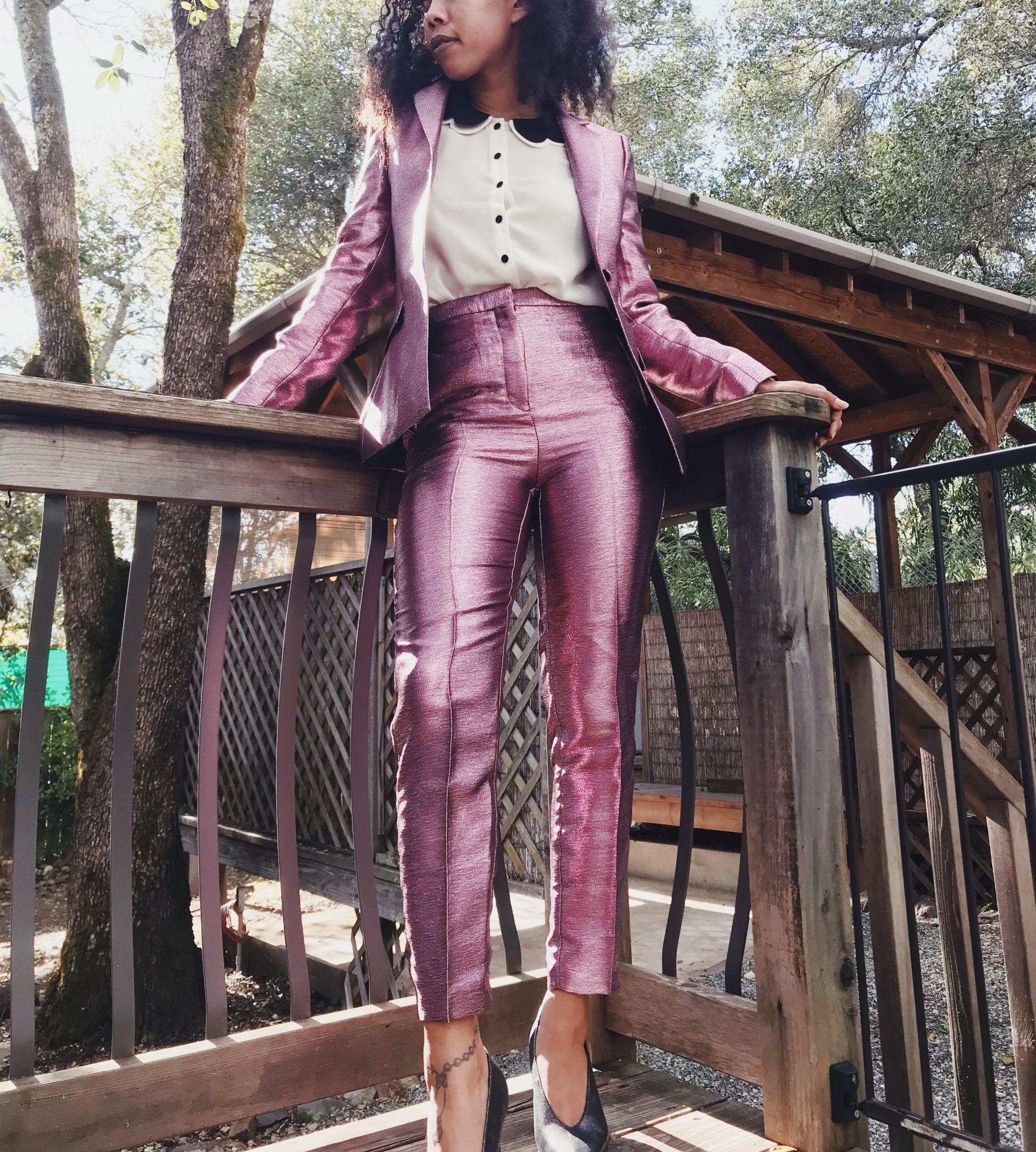 ASOS Metallic Lavender Suit Set