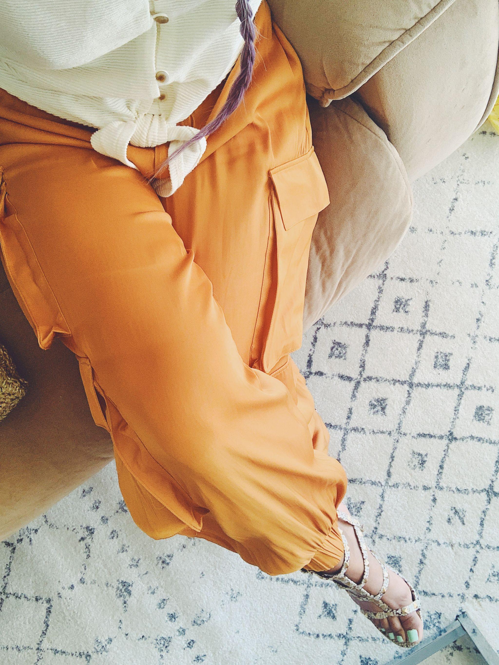 Zara Satin Cargo Pants