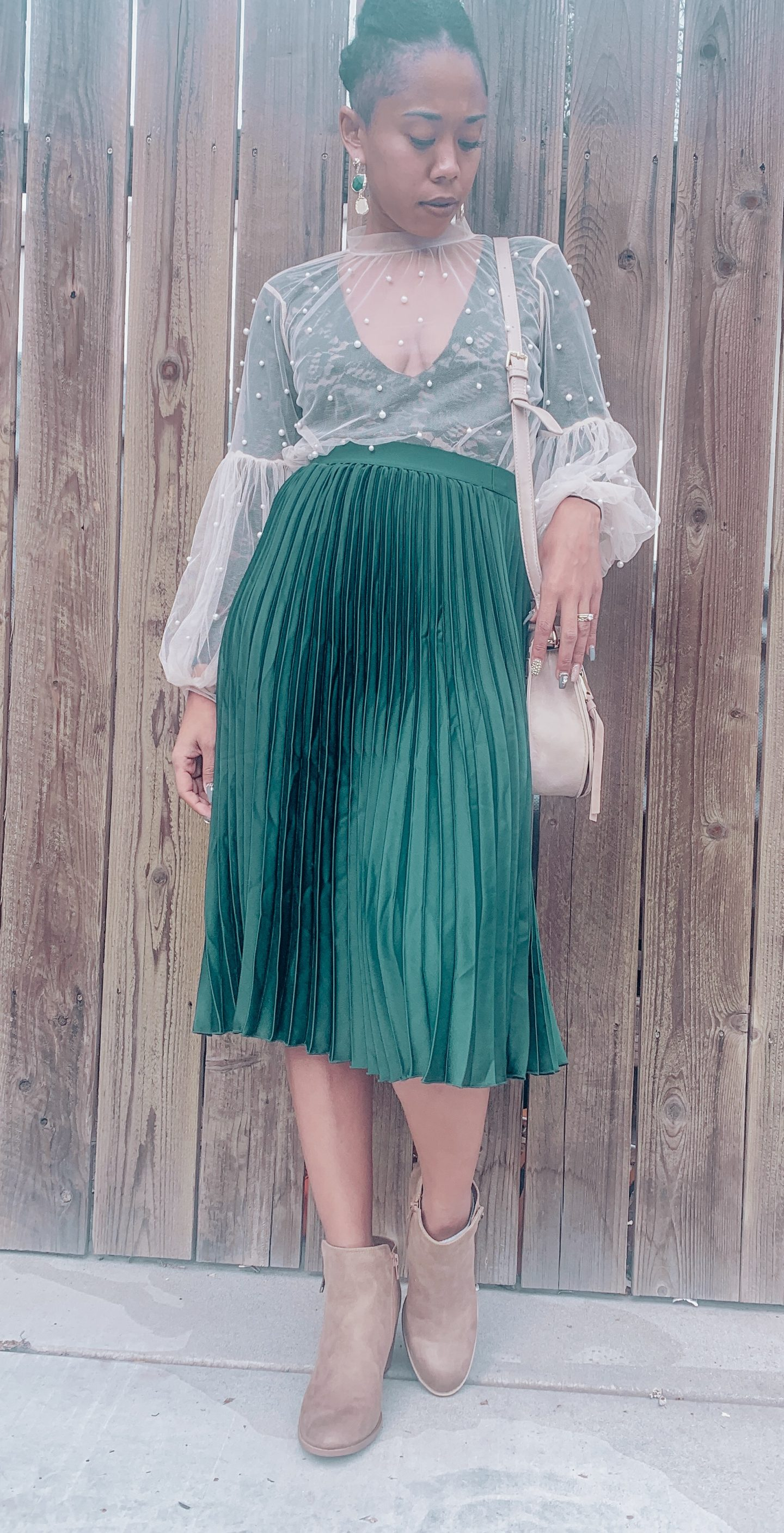 Holiday Look Book Day 5 – Pleated Midi Skirt Emerald