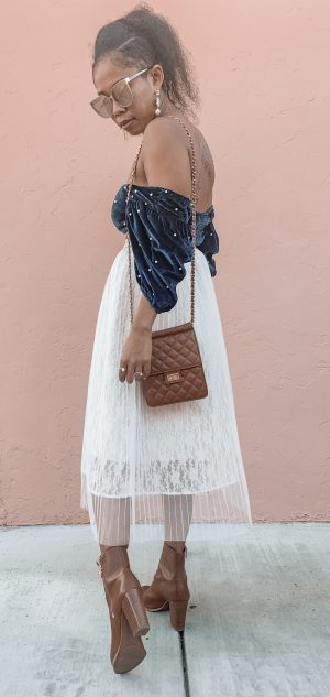 Faux Pearl Crop Top and Tulle Midi Skirt
