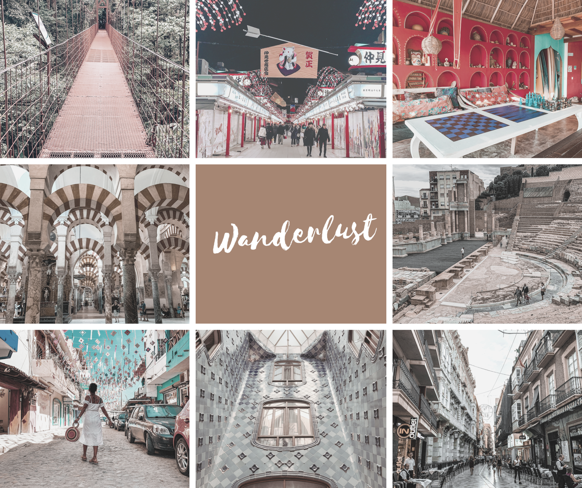 Wanderlust Collage, Travel Collage, Travel Inspo